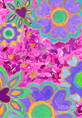 Painting - Girly Heart-shaped Valentine Florals Acrylic Painting by Beverly Claire Kaiya