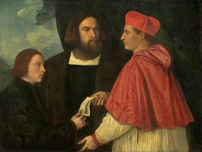 Abbot Painting - Girolamo And Cardinal Marco Corner by Titian