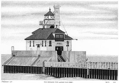 Lighthouse Drawing - Gitche Gumee Inked #2 by Rob Christensen