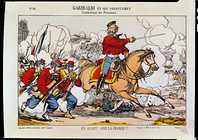 Giuseppe Garibaldi 1807-82 And His Volunteers Fighting The Prussians Coloured Engraving Art Print by French School