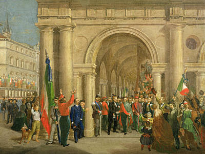 Giuseppe Garibaldi In Vicenza, 7th March 1867 Oil On Canvas Art Print