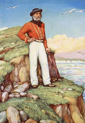 Patriotic Drawing - Giuseppe Garibaldi On A Cliff-ledge by Arthur A. Dixon