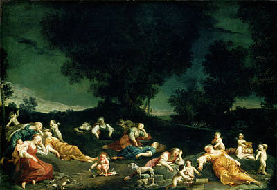 Sleeping Cupid Painting - Giuseppe Maria Crespi, Cupids Disarming Sleeping Nymphs by Litz Collection