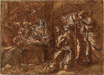 Wash Drawing - Giuseppe Passeri Italian, 1654 - 1714, The Adoration by Quint Lox