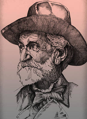 Ink Drawing Drawing - Giuseppe Verdi by Derrick Higgins