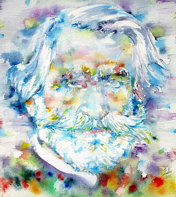 Painting - Giuseppe Verdi - Watercolor Portrait by Fabrizio Cassetta