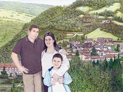 Art Print featuring the painting Giusy Mirko And Simone In Valle Castellana by Albert Puskaric