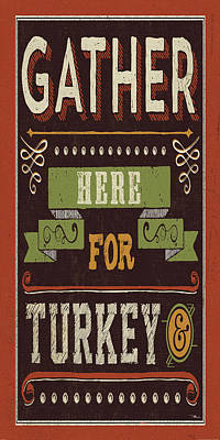 Turkey Painting - Give Thanks I by Pela Studio