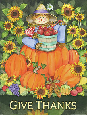 Bushel Baskets Painting - Give Thanks by Kathleen Parr Mckenna