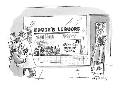 Storefront Drawing - Give The Gift Of Alcohol by Mike Twohy