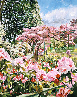 Spring Flowers Painting - Giverny Rhododendrons by David Lloyd Glover