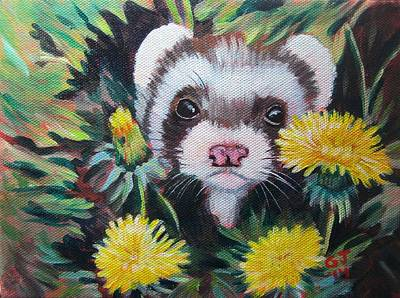 Ferret Painting - Gizmo Gherkin And Dandy-lions by Ginger Jamerson