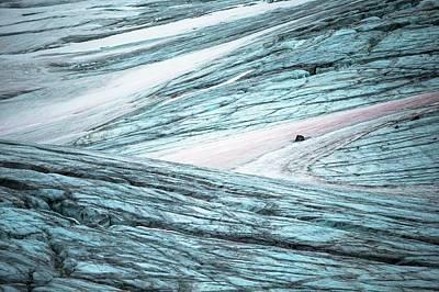 Glacial Crevasses And Pink Algae Blooms Art Print by Peter J. Raymond