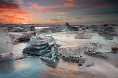 Diamond Photograph - Glacial Lagoon Beach by Massimo Baroni