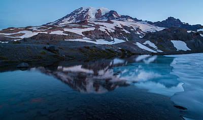 Glacial Rainier Morning Reflection Art Print by Mike Reid