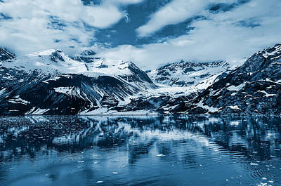 Snow. Mountain Photograph - Glacier Bay - Alaska - Landscape - Blue  by SharaLee Art