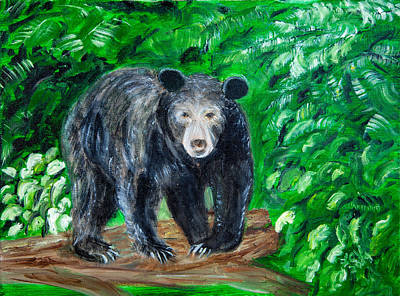 Painting - Glacier Black Bear by Lucille  Valentino