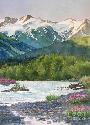 Snow Capped Painting - Glacier Creek Summer Evening by Sharon Freeman