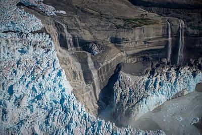 Glacier Icefall And Waterfalls Art Print