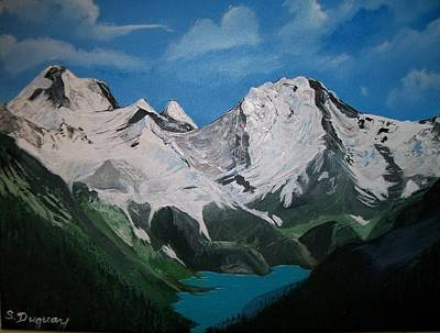 Art Print featuring the painting Glacier Lake by Sharon Duguay