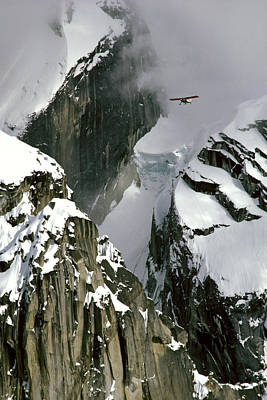 Hanging Mobile Photograph - Glacier Pilot & Plane In Ak Range by Jeff Schultz