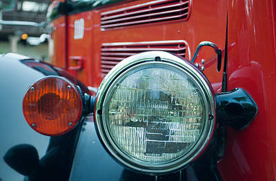 Glacier Red Jammer Headlight Art Print by Bruce Gourley