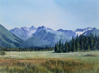 Moose Watercolor Painting - Glacier Valley Meadow by Sharon Freeman