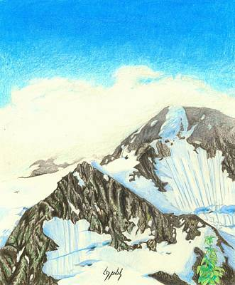 Drawing - Glacier View 1 by Lew Davis