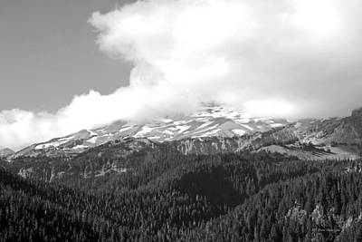 Photograph - Glaciers In The Clouds Bw. Mt. Rainier National Park by Connie Fox