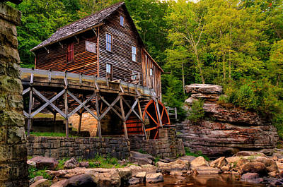 Grist Mill Photograph - Glade Creek - Cooper's Mill  by Gregory Ballos