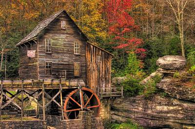 Glade Creek Grist Mill-1a Babcock State Park Wv Autumn Late Afternoon Art Print