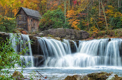 Glade Creek Grist Mill And Waterfalls Art Print
