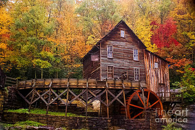 Glade Creek Grist Mill Art Print by B Wayne Mullins