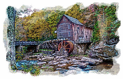 Glade Creek Grist Mill Art Print by Randall Branham