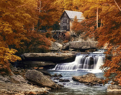 Waterscape Photograph - Glade Creek Mill In Autumn by Tom Mc Nemar