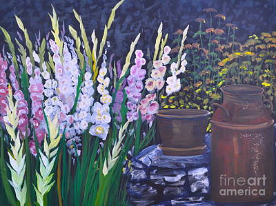 Gladiolas Painting - Gladiola Garden by Sally Rice