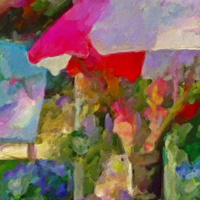 Sunshade Painting - Gladiolas For Sale Roadside - Square by Lyn Voytershark