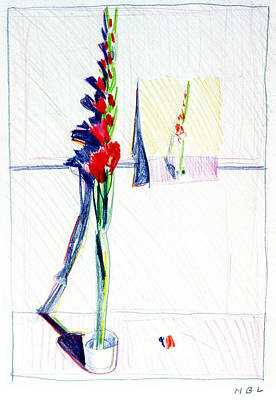 Painting - Gladiolas Pic. In Pic. by Mark Lunde