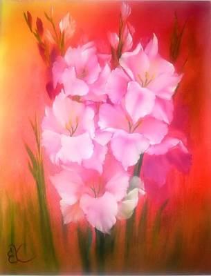 Gladiolas Painting - Gladiolas Sunburst by Fineartist Ellen