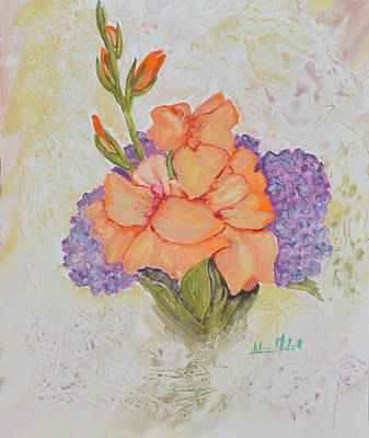 Gladioli And Hydrangea Art Print by Aileen McLeod