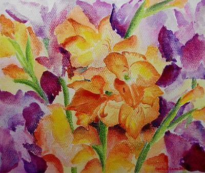 Painting - Gladioli by Geeta Biswas