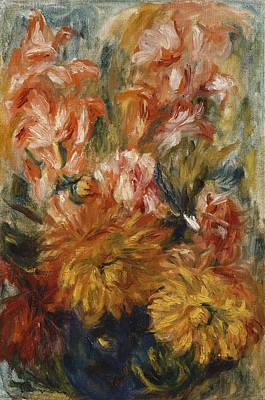 Flora Painting - Gladioli In A Blue Vase by Pierre Auguste Renoir