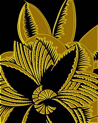 Digital Art - Glamarita In Gold And Black by Nancy Lorene