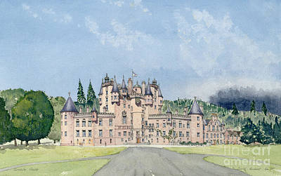 Chimney Painting - Glamis Castle Tayside  by David Herbert