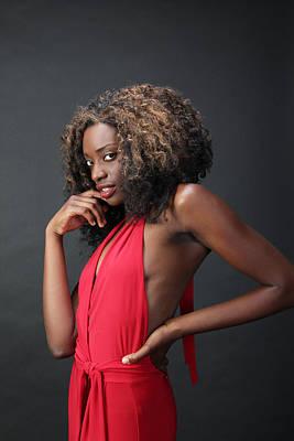 Photograph - Glamorous Black Lady In Red. by John Orsbun