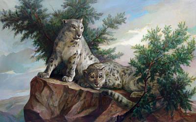 Sports Paintings - Glamorous Friendship- Snow Leopards by Svitozar Nenyuk