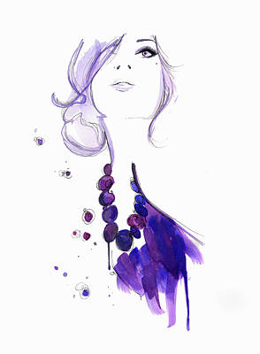 Glamour Digital Art - Glamorous Woman Wearing Purple Necklace by Jessica Durrant