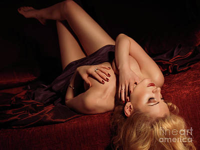 Glamour Photo Of A Woman Lying On A Bed Art Print by Oleksiy Maksymenko