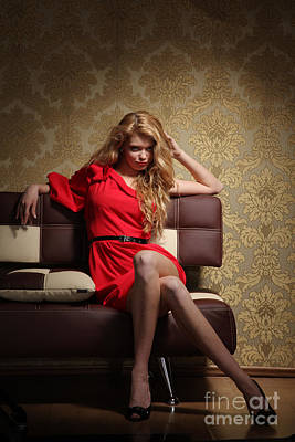 Suggestive Photograph - Glamour Woman In Retro Interior by Konstantin Sutyagin