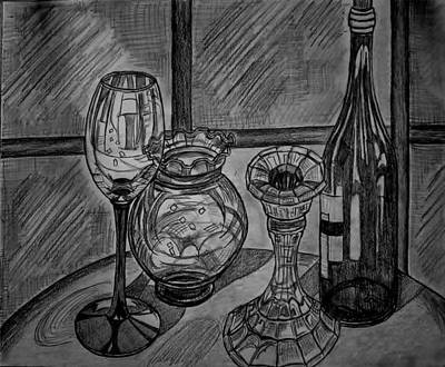 Glass Table Reflection Drawing - Glas And Light by Ulrike Proctor